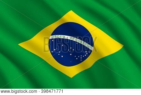 Brazil Flag, Vector Brazilian Official Symbol Of Green And Yellow Colors With Blue Globe, Stars And