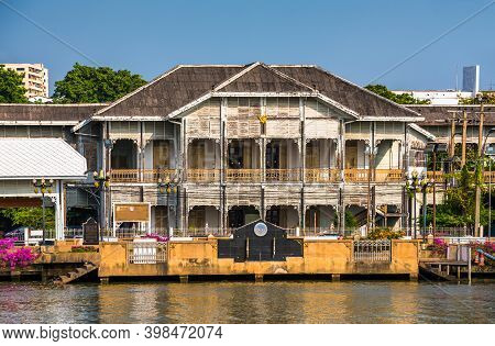 Museum Of Nonthaburi Entrance As Seen From Tourist Boat On Chao Phraya River On Sunny Day In Bangkok