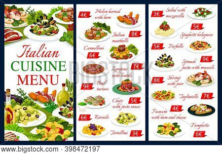 Italian Cuisine Vector Menu Food Meals Melon Horned With Ham, Cannelloni, And Zampone With Lentils,
