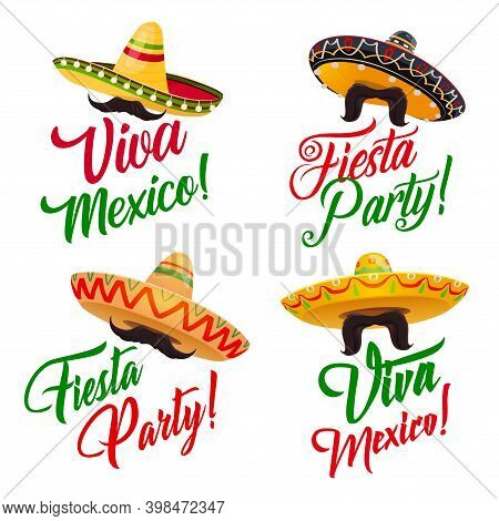 Viva Mexico Vector Set With Mexican Holiday Fiesta Party Sombrero Hats And Moustache Or Mustache, De