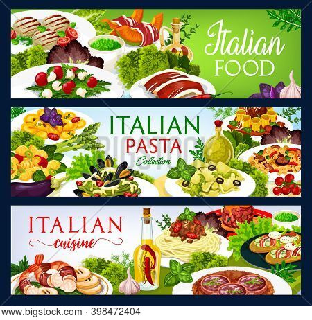 Italian Cuisine Vector Food Salad With Mozzarella, Spaghetti With Bolognese, Farfalle, Spinach Pasta