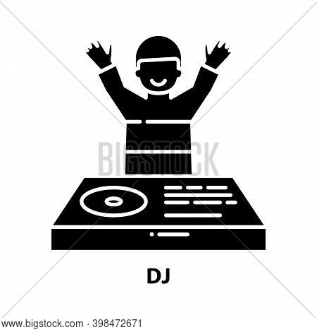 Dj Icon, Black Vector Sign With Editable Strokes, Concept Illustration