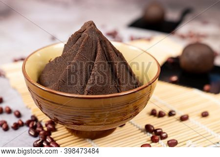 Anko Japanese Sweet Red Bean Paste Served In Bowl