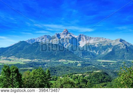 Panoramic View On Grande Tete De Obiou Mountain Range In French Prealps In Isere, Highest Peak Of De