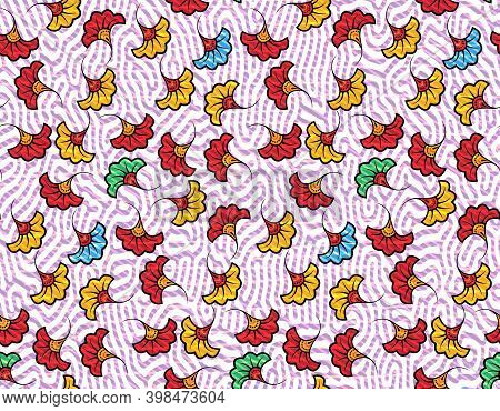 African Wax Print Fabric, Ethnic Handmade Ornament Seamless Design, Kitenge Pattern Motifs Floral El