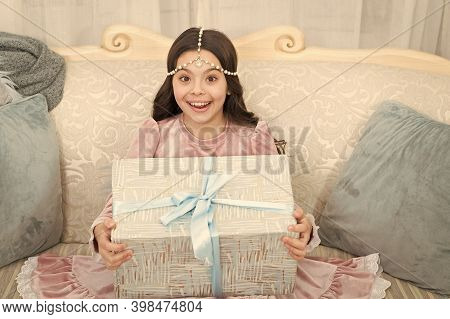 Filled With Surprise. Surprised Child. Happy Kid With Gift Surprise. Little Girl Hold Present Box. R