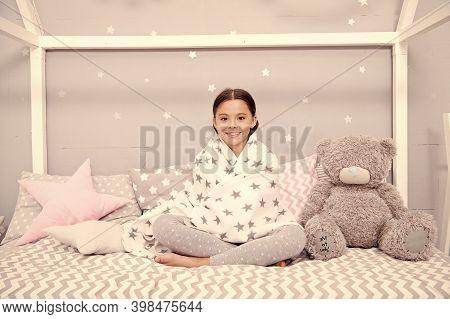 Feeling Good At Home. Tidy Bedroom. Cute Cozy Bedroom For Small Girl. Girl Having Fun Bedroom Interi