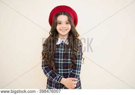 Positive Vibes. Happy Girl In French Beret. Fashionable School Uniform. Kid Fashion. Parisian Fashio