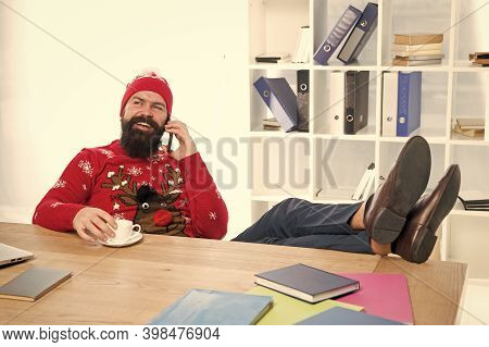 Christmas Offer. Bearded Man Communicate With Customer. Mobile Phone Communication. Business Communi