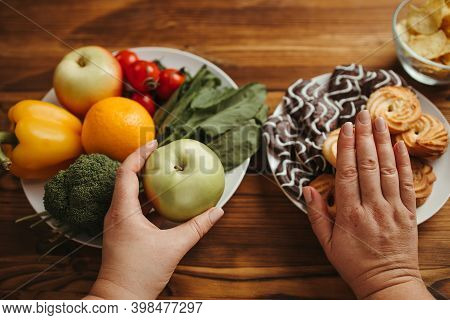 Healthy Snacking, Balanced Nutrition, Dietary, Lifestyle, Weight Losing Concept. Overweight Woman Ch