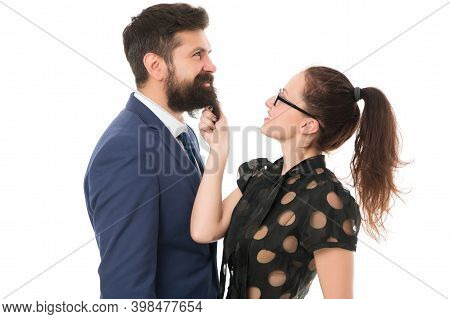 His Beard Is Real. Sensual Girl Touch Hipster Beard. Unshaven Businessman With Long Beard Hair. Bear