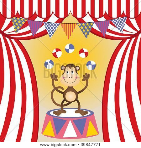 Scalable vectorial image representing a circus monkey juggling. poster