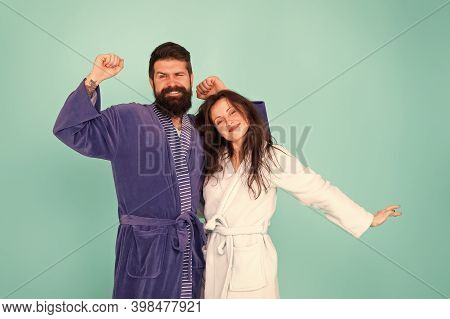 Spa And Beauty. Lazy Start Of The Day. Bearded Man And Woman Wear Home Robe. Enjoying Spending Time