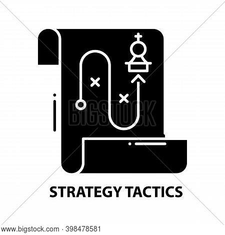 Strategy Tactics Icon, Black Vector Sign With Editable Strokes, Concept Illustration