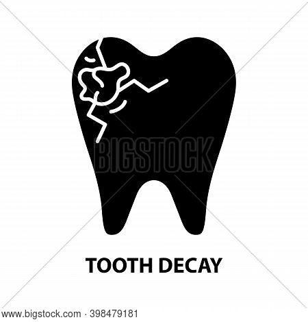 Tooth Decay Icon, Black Vector Sign With Editable Strokes, Concept Illustration