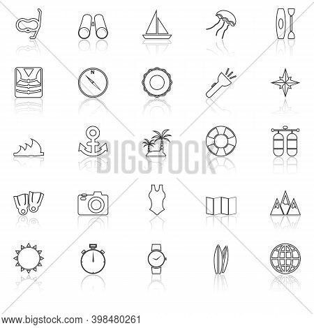 Diving Line Icons With Reflect On White Background, Stock Vector