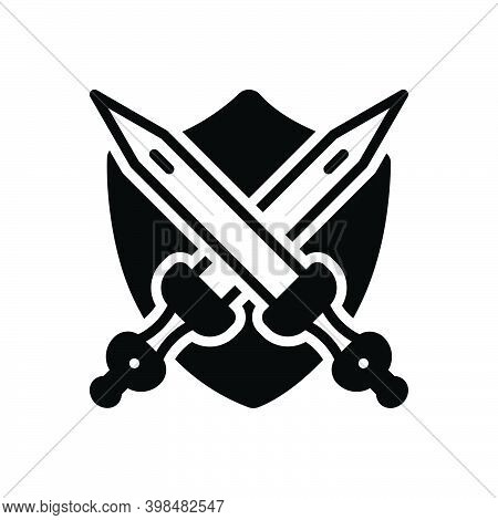 Black Solid Icon For Armed Sword Warrior Weapon Guard Defence Shield Protection Armor Knight Antique