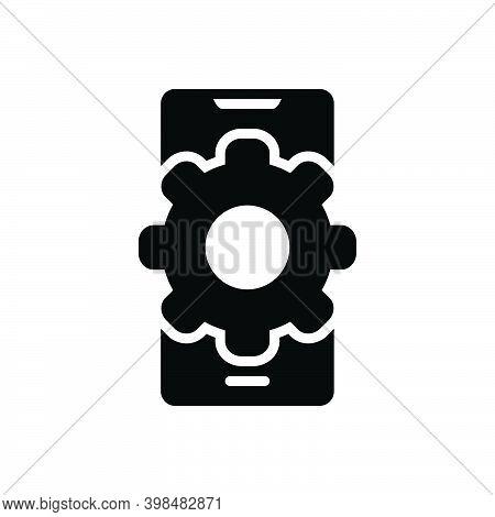 Black Solid Icon For Function Application App Mobile Development Access Tech Convenient Smartphone