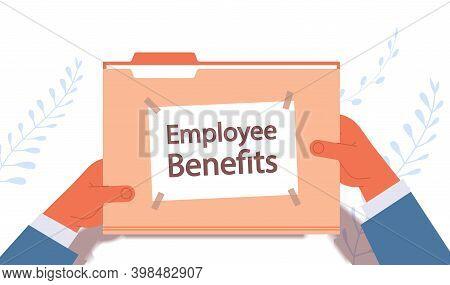 Businessman Hands Holding Employee Benefits Documents File Folder Remuneration Incentive Payments Co