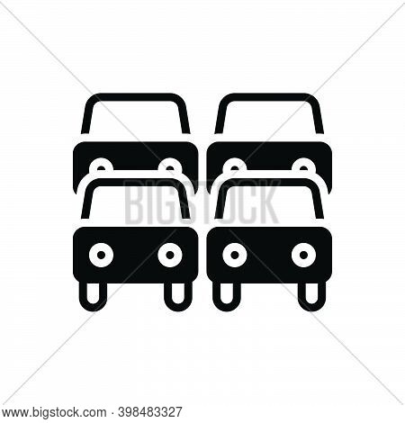 Black Solid Icon For Traffic Transportation Car Heavy  Jam Road Congestion Vehicle Road