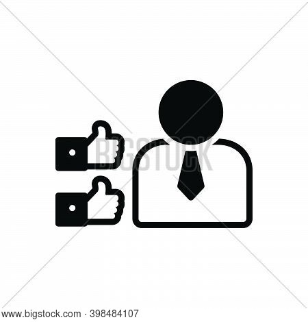 Black Solid Icon For Assure Reassure Convince Persuade Guarantee Encourage Satisfy Ok Thumb Person
