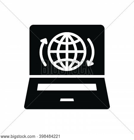 Black Solid Icon For Presence Impendence Showing Presence Globe Internet Online Webpage Access Techn