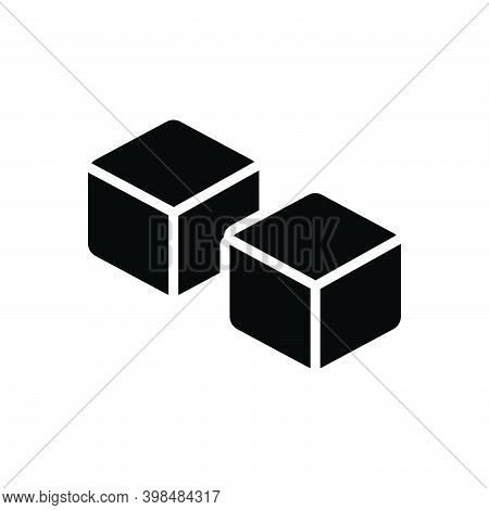 Black Solid Icon For Such Like Similar Duplicate Specious Dice Cube Cuboid Peice