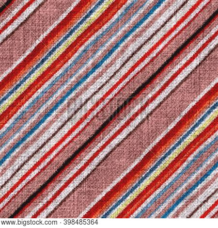 Variegated Multicolor Diagonal Tapestry Stripe Woven Texture. Space Dyed Watercolor Effect Knit Stri