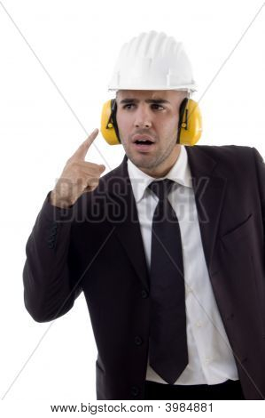 Male Engineer Wearing Earmuff