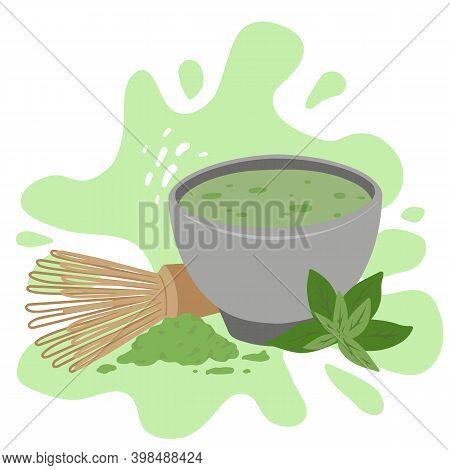 Japanese Matcha Green Tea Powder On Green Splah. Traditional Tea Ceremony. Cup Of Tea, Matcha Powder