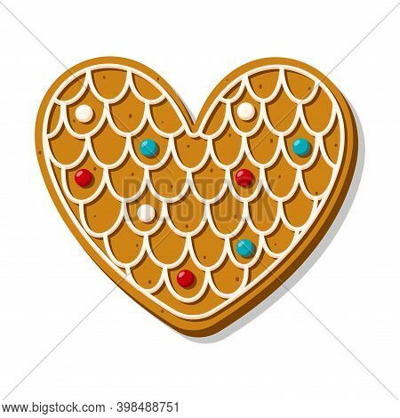 Christmas Gingerbread Heart Decorated With Glaze. Festive Cookies In The Shape Of A Heart. Romantic