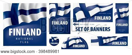 Vector Set Of Banners With The National Flag Of The Finland