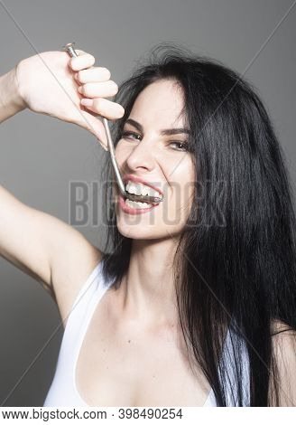 Strong Healthy Teeth. Woman With White Smile. Ideal Strong White Teeth, Teethcare. Stomatological Co