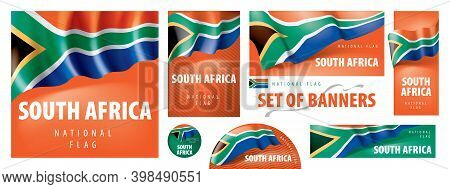 Vector Set Of Banners With The National Flag Of The South Africa