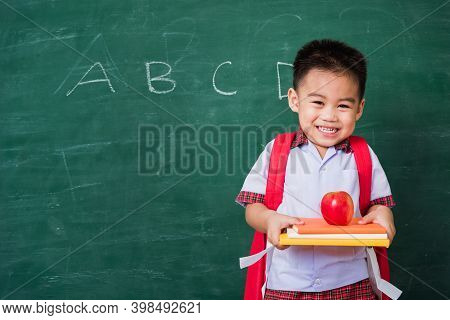 Back To School. Happy Asian Funny Cute Little Child Boy From Kindergarten In Student Uniform With Sc