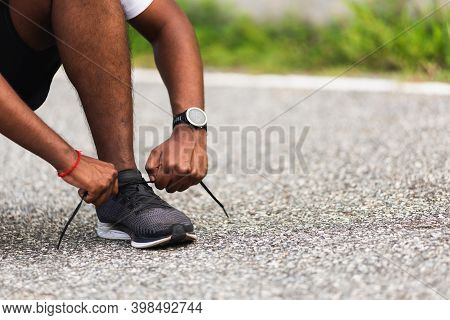 Close Up Asian Sport Runner Black Man Wear Watch Sitting He Trying Shoelace Running Shoes Getting Re