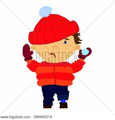 Funny Sad Boy Throwing A Snowball. Flat Illustration In Cartoon Style Isolated On White Background.