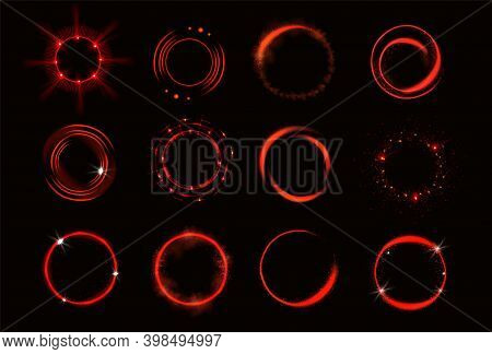 Glow Red Circles With Sparkles And Smoke, Magic Light Effect. Vector Realistic Set Of Shiny Rings An