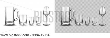 Set Of Glasses For Tequila, Whisky, Beer Tankard And Wine Tempranillo, Cups For Alcohol Drinks Stand