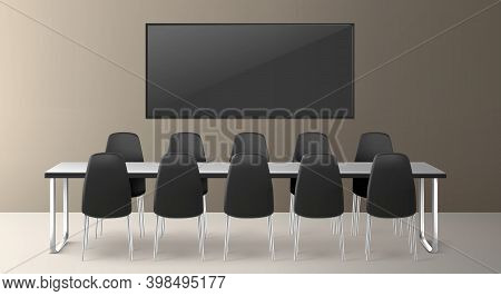 Boardroom For Business Meetings, Conference And Training In Company Office. Vector Realistic Interio