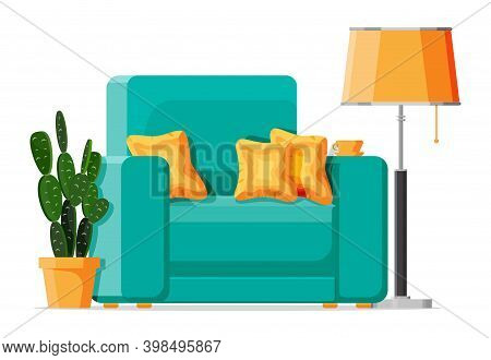 Green Armchair With White Pillow Isolated On White. Living Room Chair Furniture. Decorated Modern In