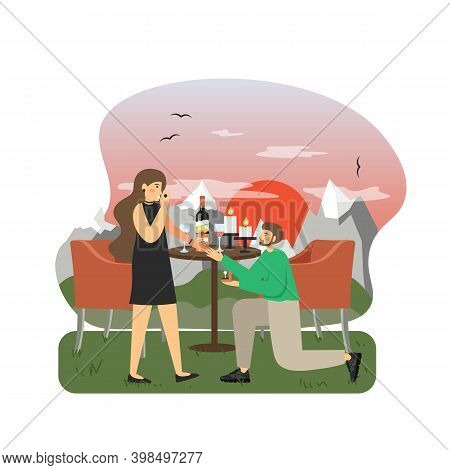 Young Man Kneeling Making Marriage Proposal To Woman With Engagement Ring, Flat Vector Illustration.