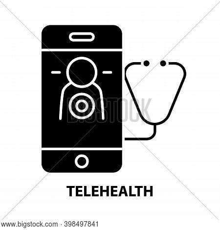 Telehealth Icon, Black Vector Sign With Editable Strokes, Concept Illustration
