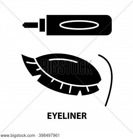Eyeliner Icon, Black Vector Sign With Editable Strokes, Concept Illustration
