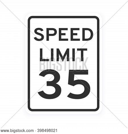 Speed Limit 35 Road Traffic Icon Sign Flat Style Design Vector Illustration Isolated On White Backgr
