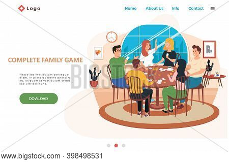 Complete Family Game Landing Page Template With Happy Family Or Friends Playing Card Game At Home Or