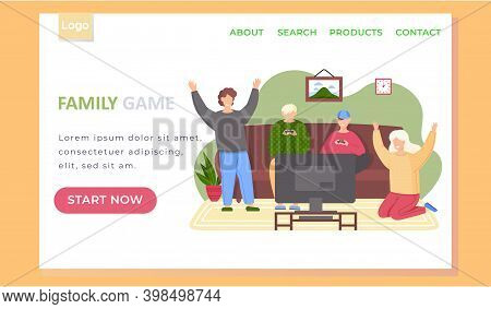 Family Game Landing Page Template With Happy Family Or Friends Playing Video Games. Two Brothers Tee