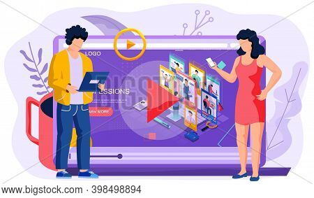 Live Video About Online Professions. Flat Tiny Tv Media Stream Persons Concept. Man And Woman Lookin