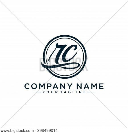Rc Initial Handwriting Logo Vector, Isolated On White Background