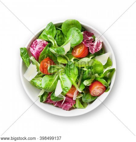 Fresh healthy salad in bowl. Isolated on white background. Top view flat lay